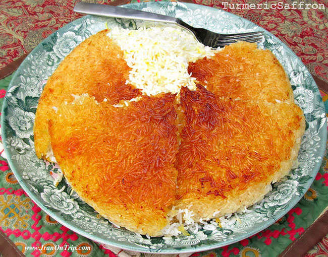 Persian Rice and Golden Potato Crust (Ta-dig) - Iranian Foods - Persian Cuisine - Iranian Cooking - Persian Cooking